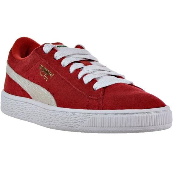 c903452e3c90 Puma Suede Jr Big Kid s Shoes High Risk Red White